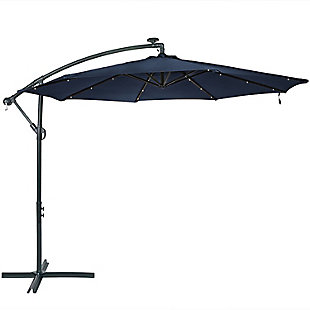 Sunnydaze 10' Outdoor Solar Offset Umbrella, , large