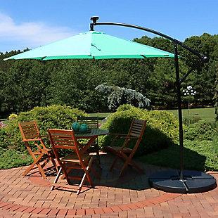 Sunnydaze 9' Outdoor Solar Offset Umbrella, , rollover