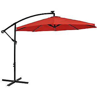 Sunnydaze 9' Outdoor Solar Offset Umbrella, , large