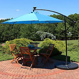 Sunnydaze 9' Outdoor Solar Offset Patio Umbrella, , rollover