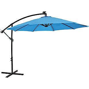 Sunnydaze 9' Outdoor Solar Offset Patio Umbrella, , large