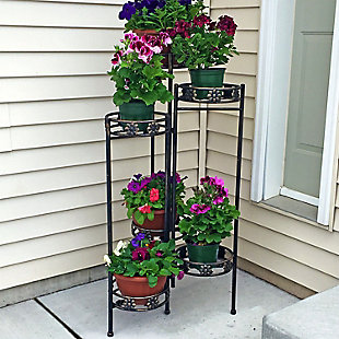 """Sunnydaze 45"""" Outdoor 6-Tier Folding Plant Stand, , rollover"""