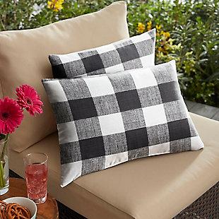 Mozaic Outdoor Pillows (Set of 2), Black Buffalo Plaid, rollover