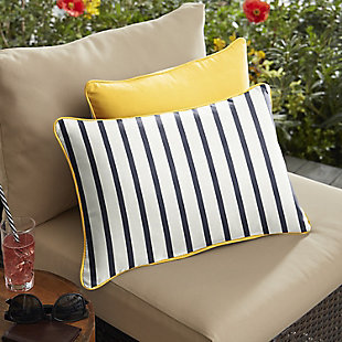Mozaic Outdoor Pillows (Set of 2), Ivory Stripe, rollover