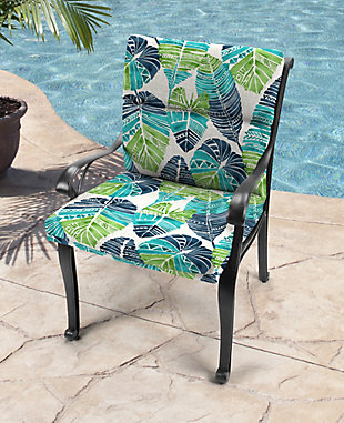 Jordan Manufacturing Outdoor French Edge Dining Chair Cushion, Hixon Caribe, rollover