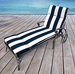 Jordan Manufacturing Outdoor French Edge Chaise Lounge Cushion, Cabana Navy, rollover