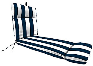 Jordan Manufacturing Outdoor French Edge Chaise Lounge Cushion, Cabana Navy, large