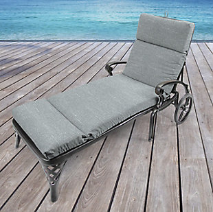 Jordan Manufacturing Outdoor French Edge Chaise Lounge Cushion, Tory Graphite, rollover