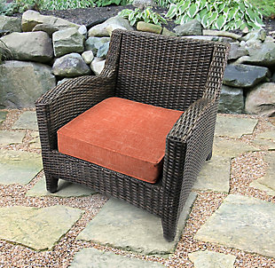 Jordan Manufacturing Outdoor Boxed Edge Deep Seat Cushion, Tory Sunset, rollover