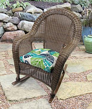 "Jordan Manufacturing Outdoor 18"" Wicker Chair Cushions (Set of 2), Hixon Caribe, rollover"
