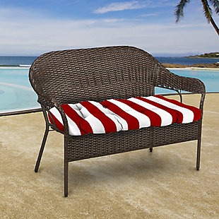 "Jordan Manufacturing Outdoor 44"" Wicker Loveseat Cushion, Cabana Stripe Red, rollover"
