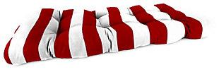 """Jordan Manufacturing Outdoor 44"""" Wicker Loveseat Cushion, Cabana Stripe Red, large"""