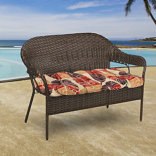 "Jordan Manufacturing Outdoor 44"" Wicker Loveseat Cushion, Hixon Sunset, large"