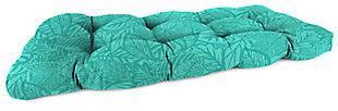 "Jordan Manufacturing Outdoor 44"" Wicker Loveseat Cushion, Maven Lagoon, large"