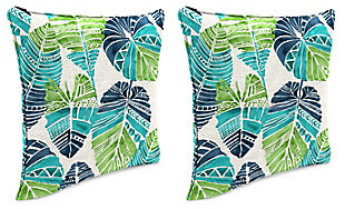 """Jordan Manufacturing Outdoor 18"""" Accessory Throw Pillows (Set of 2), Hixon Caribe, large"""