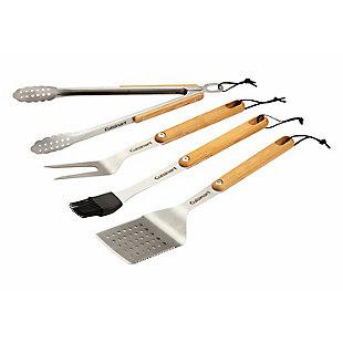 Cuisinart 4-Piece Outdoor Ashwood Grill Tool Set, , large