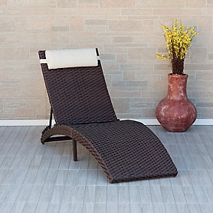 International Home Miami Outdoor Wicker Lounger with Cushion, , rollover