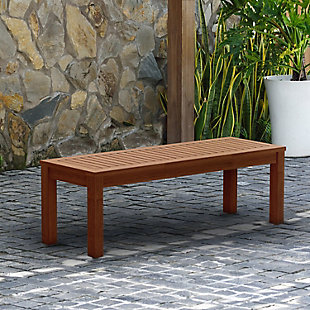 International Home Miami Wood Patio Bench, , rollover