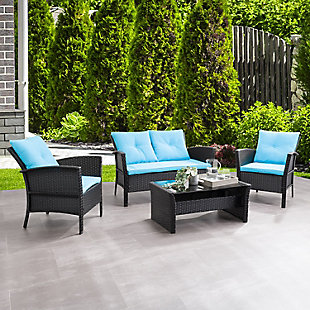 CorLiving  Cascade 4-Piece Outdoor Patio Set with Cushions, Turquoise, rollover