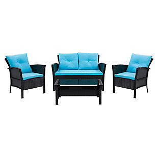 CorLiving  Cascade 4-Piece Outdoor Patio Set with Cushions, Turquoise, large
