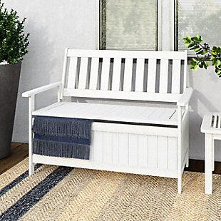 CorLiving  Miramar Outdoor Storage Bench, White, rollover