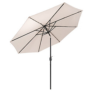 CorLiving  Outdoor LED Light Patio Umbrella, Beige, large
