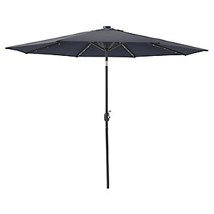 CorLiving  Outdoor LED Light Patio Umbrella, Gray, large