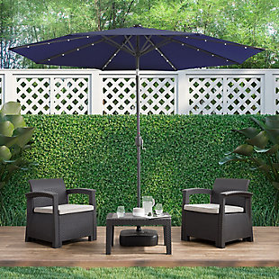 CorLiving  Outdoor LED Light Patio Umbrella, Navy Blue, rollover