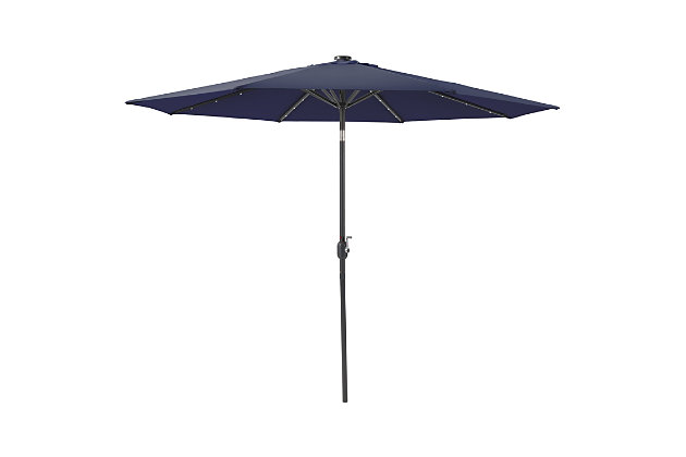 CorLiving  Outdoor LED Light Patio Umbrella, Navy Blue, large