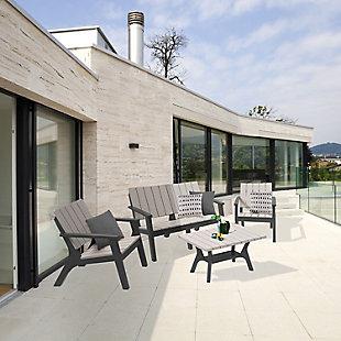 Dukap Enzo 4-Piece Outdoor Patio Sofa Set, Black/Gray, rollover