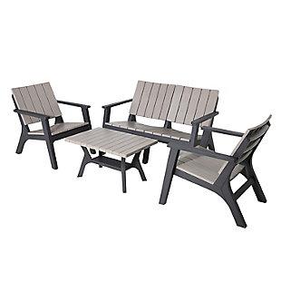 Dukap Enzo 4-Piece Outdoor Patio Sofa Set, Black/Gray, large