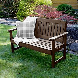 Highwood® Lehigh 4' Outdoor Garden Bench, Weathered Acorn, rollover
