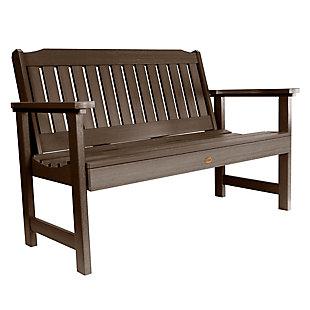 Highwood® Lehigh 4' Outdoor Garden Bench, Weathered Acorn, large