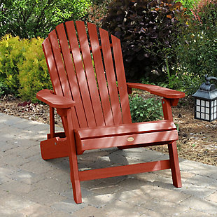 Highwood® King Hamilton Outdoor Folding and Reclining Adirondack Chair, Rustic Red, rollover