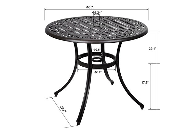 """Nuu Garden  36"""" Outdoor Round Dining Table, , large"""