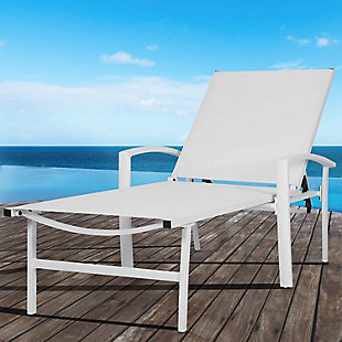 Nuu Garden  Outdoor Reclining Chaise Lounge, White, rollover