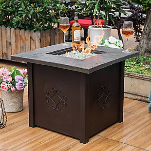 """Nuu Garden 30"""" Outdoor Steel Propane Gas Fire Pit Table with Cover, , rollover"""