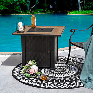 """Nuu Garden 30"""" Outdoor Steel Fire Pit Table with Cover, , rollover"""