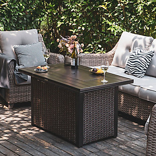 Nuu Garden Outdoor Steel Propane Fire Pit Table with Cover, , large