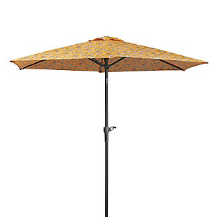 Vera Bradley by Classic Accessories Outdoor Market Umbrella, Rain Forest Toile Gold, rollover