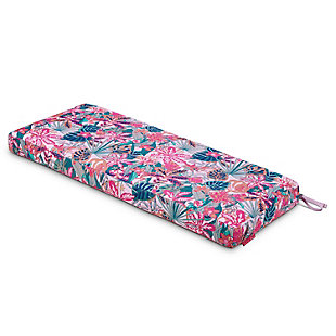 Vera Bradley by Classic Accessories Outdoor Patio Bench Cushion, Rain Forest Canopy Coral, large