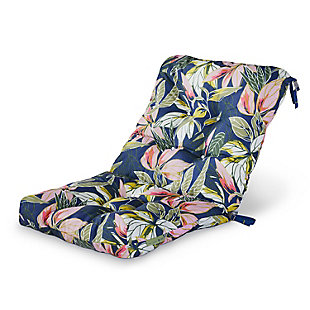 Vera Bradley by Classic Accessories Outdoor Patio Chair Cushion, Rain Forest Leaves Blue, large