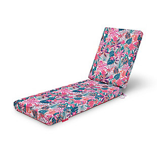 Classic Accessories Outdoor Chaise Lounge Cushion, Rain Forest Canopy Coral, large