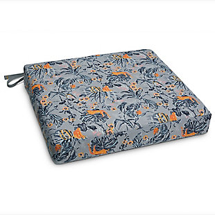 Vera Bradley by Classic Accessories Outdoor Patio Seat Cushion, Rain Forest Gray/Gold, large