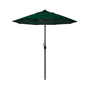California Umbrella Casa Series 7.5' Outdoor Patio Umbrella With Auto Tilt Crank Lift, Hunter Green, large