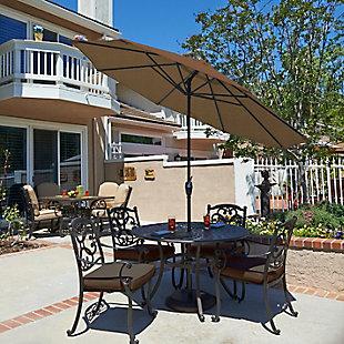 California Umbrella Casa Series 9' Outdoor Patio Umbrella With Auto Tilt Crank Lift, Sesame, rollover