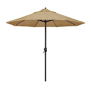 California Umbrella Casa Series 9' Outdoor Patio Umbrella With Auto Tilt Crank Lift, Sesame, large