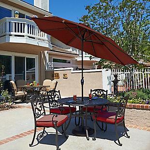California Umbrella Casa Series 9' Outdoor Patio Umbrella With Auto Tilt Crank Lift, Adobe, rollover
