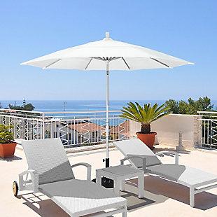California Umbrella Tahoe Series 11' Outdoor Patio Umbrella With Crank Lift, White, rollover