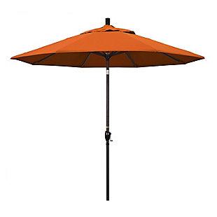 California Umbrella Pacific Trail Series 9' Outdoor Patio Umbrella With Push Button Tilt Crank Lift, Tuscan, large